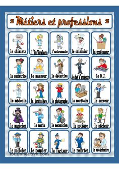 Métiers et professions French Basics, French For Beginners, French Flashcards, French Worksheets, French Teaching Resources, Teaching French, French Lessons, English Lessons, Basic French Words