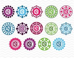 Circle, polka dot, monogram frames, SVG, DXF, Studio 3 & EPS, Vinyl Cut Files for Silhouette Studio and Cricut Design Space. by ESIdesignsdigital on Etsy https://www.etsy.com/listing/232092383/circle-polka-dot-monogram-frames-svg-dxf