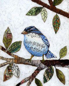Bird art prints … Songbird — 8 x 10 Glossy Print, from my original collaged artwork Peinture-impression Art Altéré, Paper Collage Art, Collage Collage, Painting Collage, Painting Abstract, Collage Making, Painting Prints, Medium Art, Art Techniques