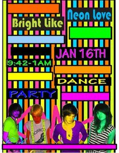 Invite- have Livi's picture taken with Neon cloths and paint!