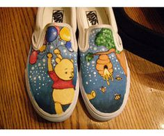 still not really sure how to categorize these xD pooh bear, for girl at my school they're so adorable! pooh bear copyright of disney done with acrylic p. Disney Painted Shoes, Painted Canvas Shoes, Custom Painted Shoes, Hand Painted Shoes, Painted Vans, Disney Vans, Disney Shoes, Disney Outfits, Disneyland Outfits