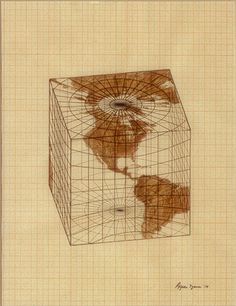 Agnes Denes : Study for Distortions; Isometric Systems in Isotropic Space—Map Projections: The Cube, 1978