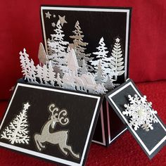 Carte 3 d noël Pop Up Christmas Cards, Christmas Pops, Christmas Card Crafts, Homemade Christmas Cards, Xmas Cards, Fun Fold Cards, 3d Cards, Pop Up Box Cards, Card Boxes