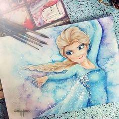 Amazing Elsa watercolour <3