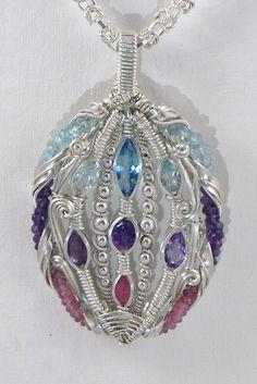 topaz, amethyst, ruby, tourmaline, sterling silver wire wrap pendant.