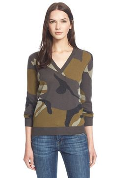 Burberry+Brit+BurberryBrit+CamoPrint+V-Neck+Cashmere+Pullover+available+at+#Nordstrom
