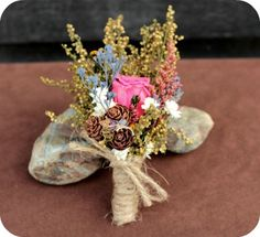 Rustic Fall Wedding Boutonniere - Etsy:  SmokyMtnWoodcrafts shop