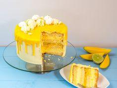 Sommerliche Limetten-Mango-Torte mit Mangocreme und Vanille Summery lime mango cake with mango cream and vanilla Fondant Wedding Cakes, Fondant Cakes, Drip Cakes, Cake Recipes, Dessert Recipes, Mango Cake, Cupcakes, Birthday Cake Decorating, Cake Decorating Techniques