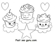 Free Print out Birthday mufien cake coloring pages for kids. Printable online Birthday mufien cake fargelegge tegninger for barn