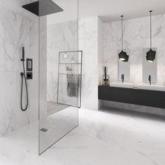Modern: XXL tiles with a marble look - Fliesen in Marmor-Optik - Renovieren Bathroom Colors, Bathroom Sets, Small Bathroom, Marble Tile Bathroom, Shower Tiles, Modern Bathroom Design, Bathroom Interior Design, Masculine Bathroom, Bad Inspiration