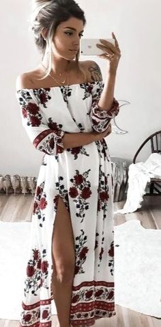 Women Sexy Off Shoulder Half Sleeve Floral Print Maxi Boho Long Dress Beach Cocktail Party Dress Womens Slash Neck Long Dresses Size S Color As photo shows Sexy Dresses, Beach Dresses, Trendy Dresses, Cheap Dresses, Women's Fashion Dresses, Casual Dresses, Summer Dresses, Dress Beach, Long Dresses