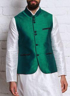 Elegant Green Kurta Pyjama With Modi Jacket