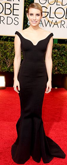 Emma Roberts: 2014 Golden Globes The American Horror Story star wore a custom-designed Lanvin gown by Alber Elbaz -- a sleeveless, black, matte, stretch creation with a mermaid hem complete with a classy chignon. She paired her look with Jennifer Meyer jewels.
