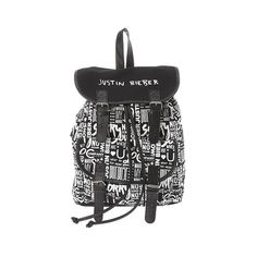 Justin Bieber Black and White Print Backpack | Claire's ❤ liked on Polyvore featuring bags, backpacks, print bags, pattern bag, black white bag, rucksack bags and print backpacks