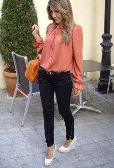 Preppy orange blouse  , Asos en Camisas / Blusas, Miss Sixty en Jeans, Zara en Tacones / Plataformas