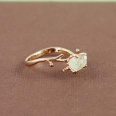 Pink Gold Rough Green Amethyst Ring ($50)
