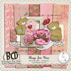 Hugs For You mini kit freebie from Boutique Cute Dolls #digiscrap #scrapbooking #digifree #scrap