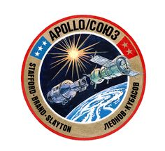 This is the American crew insignia of the joint United States-USSR Apollo-Soyuz Test Project (ASTP). The white stars on the blue background represent American astronauts Thomas P. Stafford, commander; Vance D. Brand, command module pilot; and Donald (Deke) K. Slayton, docking module pilot. The dark gold stars on the red background represent Soviet cosmonauts Aleksey A. Leonov, commander, and Valeriy N. Kubasov, engineer.  Image # : S75-20361 Date: February 27, 1975