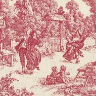 Victorian Toile Red Victorian Park Red - Fabric