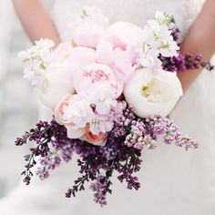 Complement a pink rose bouquet with soft violet stock.