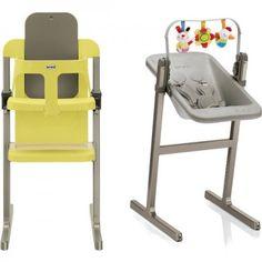 Retrouvez sur notre site Poussette.com cet article . Chaise haute design Brevi Slex Evo + transat jaune et vert