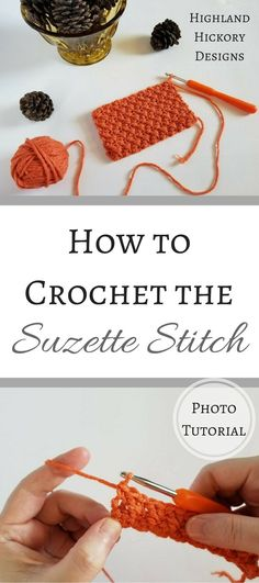 This is a free photo tutorial for how to crochet the Suzette Stitch! It's super easy and creates a solid fabric that is wonderful for most types of crochet projects. Mode Crochet, Crochet Crafts, Crochet Yarn, Crochet Projects, Crochet Tutorials, Crochet Stitches Patterns, Stitch Patterns, Knitting Patterns, Crochet Designs