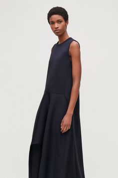 Cos Scuba Dress With Irregular Hem - Midnight Blue XS