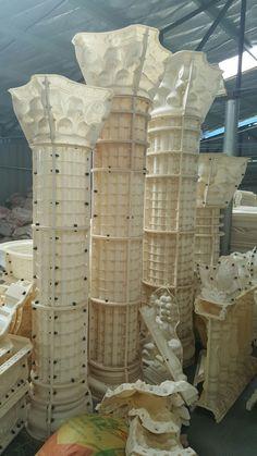 Concrete Column, Concrete Porch, Concrete Molds, Concrete Art, Concrete Countertops, Concrete Blocks, Cornice Design, Greek Decor, Balcony Railing Design