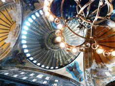 Lights sparkling on Hagia Sofia domed ceiling, Istanbul Turkey