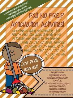 Fall No Prep Articulation Packet!