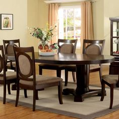 Dining Room Design With Furniture of America Mavea 7 Piece Dining Table Set – Dark Walnut – Dark Walnut masterfully marries contemporary and classic style to catch your eye. This fine set is made from solid wood with a dark walnut finish. The table sits on a double-pedestal base with...
