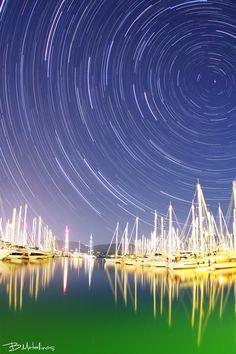 Stellar Traces above Marina Gouvia, Corfu Nightscape at the beautiful Marina of Gouvia with the Stellar traces above the Sailing boats Corfu Greece, Under The Stars, Paradise, Places To Visit, Greek, Island, Explore, Photography, Landscapes