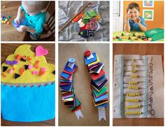 """Wonderful ideas for a """"busy bag"""" - a small bag of homemade toys you keep in the car and bring in to restaurants and other places you may be waiting.  Great for doctors offices and hospital stays!"""