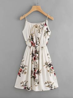 Shop Floral Print Random Self Tie Cami Dress online. SheIn offers Floral Print Random Self Tie Cami Dress & more to fit your fashionable needs. Teen Fashion Outfits, Dressy Outfits, Casual Dresses, Fashion Dresses, Cute Outfits, Summer Dresses, Elegant Dresses, Dresses Dresses, Formal Dresses