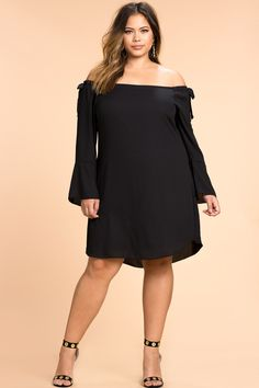 Women's Plus Size Day Dresses | Tie Cut Out Off Shoulder Shift Dress | A'GACI