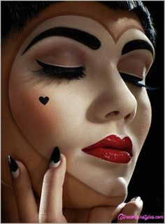 Makeup for queen of hearts costume - http://www.allnewhairstyles.com/makeup-for-queen-of-hearts-costume.html