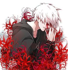 Kaneki [by gonilitzka.tumblr.com] - red colour markers or pencils