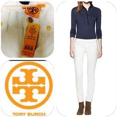 ❤️ Tory Burch Jeans in Stonewashed White❤️ The It jean — because it flatters everyone. Our Super Skinny is a chic and versatile go-to with a super-slim silhouette and the perfect amount of stretch for an amazing fit. No longer limited to just the warmer months, this crisp white pair is a sophisticated year-round alternative to blue denim. STYLE NUMBER: 50001289 Tory Burch Jeans