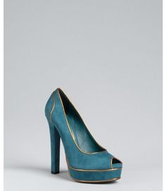 Gucci Suede Huston Platform Peep Toe Pumps in Blue (teal)