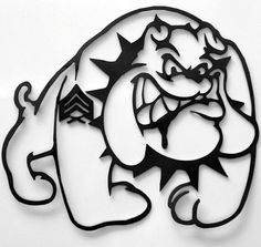 Marine Bulldog Metal Art Sign by RillaBee on Etsy, $75.00