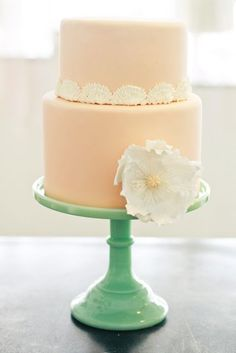 Perfection - peach cake with piped buttercream border + sugar flower Cute Cakes, Pretty Cakes, Beautiful Cakes, Simply Beautiful, Mint Cake, Peach Cake, Green Cake, Orange Wedding Themes, Wedding Colors