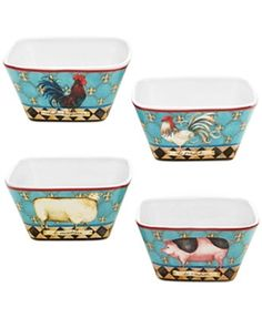 French Barnyard Ice Cream Bowl 5.25' x 2.5' Set/4 Assorted by Nancy E Mink