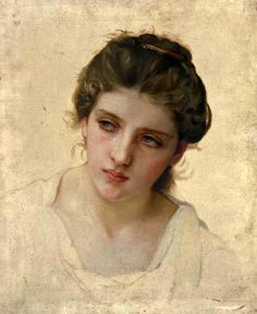 Study of a Woman's Head by William Bouguereau, c. 1898 And all of a sudden there grows this delicate head out of blank paper…