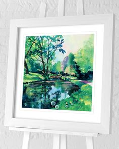 Flat Brushed Deep White Frame Single Mount with V Groove Overall Size 71 x Print Size 60 x Actual Image Size 48 x Country Landscaping, Contemporary Landscape, Paper Roses, New Artists, Natural World, Framed Art Prints, Landscape Paintings, Reflection, Group