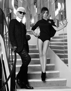 Victoria Beckham & Karl Lagerfeld For French ELLE: The Ice Queens Cometh