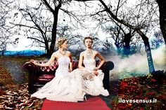 Women on a couch in a woodland. Hairstyle blond updo