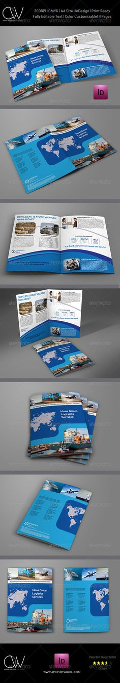 Logistics Services Bi Fold Brochure Template  —  InDesign Template • Download ➝…