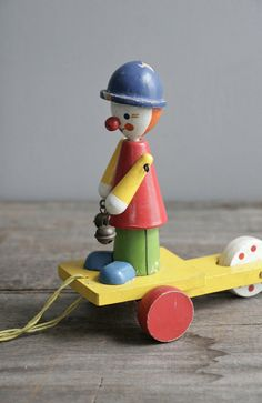 Clown vintage pull toy