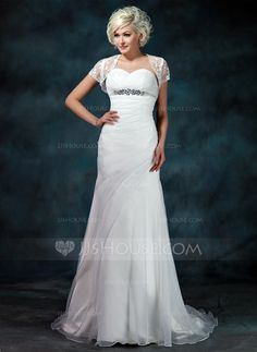 A-Line/Princess Sweetheart Court Train Ruffle Beading Zipper Up at Side Strapless Sleeveless Beach General Plus Yes Winter Spring Summer Fall Ivory Organza Wedding Dress