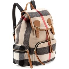 Burberry London England Large Leather-Trimmed Check Backpack ($1,840) ❤ liked on Polyvore featuring bags, backpacks, rucksack bag, day pack backpack, burberry bags, knapsack bag and burberry backpack